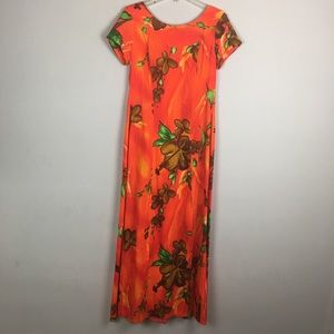 Vintage orange Hawaiian floral maxi dress